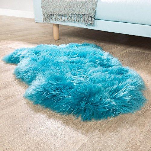 Australisches Lammfell Naturfell Bettvorleger Echtes Schaffell In Petrol Blau, Grösse:100x68 cm