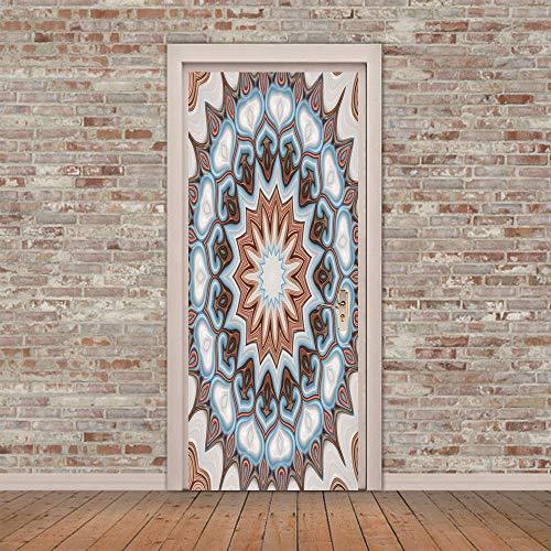 XKLBO Deursticker Muurschilderingen Fotobehang Decal, Mandala, 38,5 * 200 cm * 2 Stks 3D Woonkamer Slaapkamer Kantoor Huis Huisdecoratie Kwekerij Restaurant Café Hd Creatieve Poster