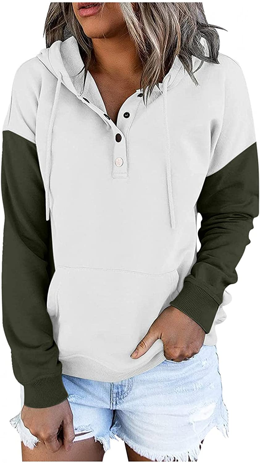 AODONG Pullover for Womens Button Down Hooded Drawstring Hoodies Long Sleeve Casual Loose V Neck Sweatshirts with Pocket