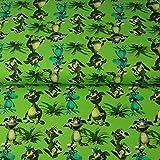 Loopomio Stenzo Jersey Stoffe Monster Drachen grün 0,50m x