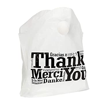 """Royal Recyclable Plastic Shopping Bags with Wave Top Handles, 19 x 18 x 9.5 Inches, Multilingual""""Thank You"""" Design, Case of 500"""
