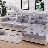 DUANGONGZI Canapé Convertible Pas Cher,1 PCS Coton Housse de canapé brodé de Couleur Unie Facile à Nettoyer pour la décoration du canapé du Salon @ Gray_70 * 210cm (1PCS)