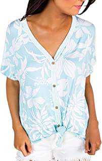 Imily Bela Womens Loose Button Down Tops V Neck Summer Tees Hawaiin Knot Front Shirts