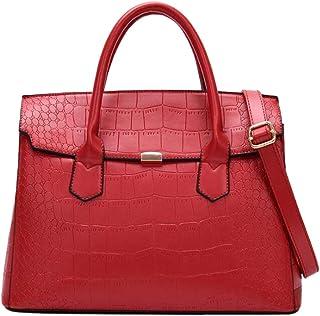 Trendy Lady Large-capacity Handbag Fashion Embossed Shoulder Bag Retro Handbag Zgywmz (Color : Red, Size : 34 * 15 * 27cm)