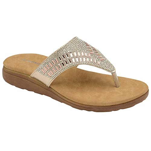 f76dc98b5 Dunlop Ladies Flip Flops Low Wedge Toe Post Slip on Sandals Flat Cushioned  Slippers