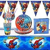 Yisscen Vajillas Completas de Spiderman 30pcs Juego de Vajilla Infantil Cumpleaños con Platos,Vasos,Mantel,Servilletas,Pancarta,Fiesta Cumpleaños,Fiesta Temática de Spiderman(6 Invitados)