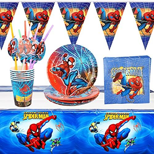 Yisscen Vaisselle de fête 30 pièces Vaisselle Spiderman Enfant Anniversaire,Décoration de Table 6 Personnes Decoration Anniversaire Fête Ustensiles Assiette Gobelet Nappe
