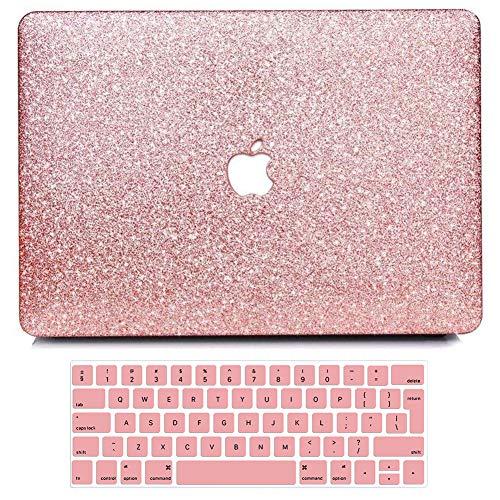 BELK Funda Dura para 2019 2018 2017 2016 MacBook Pro 15 Pulgadas con Touch Bar Modelo A1990 A1707, Liso Glitter Bling Plástico Dura Carcasa con Cubierta de Teclado, Oro Rosa