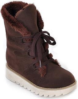 9af2138e9d Minetom Mujer Otoño E Invierno Plano Botines Calentar Pelaje Botas De Nieve  Atada Zapatos