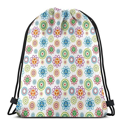 Sanme Kordelzug Rucksäcke Taschen, ethnische Bunte Stammes-asiatischen Stil inspirierte Muster mit Blumen wie Bilder Kunstwerk