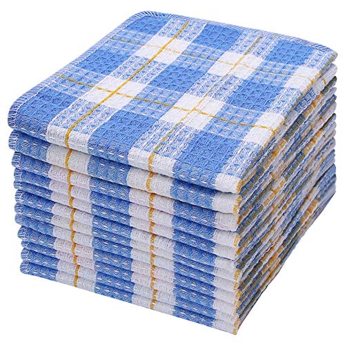 100% Cotton Kitchen Dish Cloths, Ultra Soft Absorbent Quick Drying Dish Towels, 16x14 Inches Windowpane Dishcloths, Machine Washable, 12-Pack