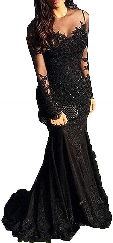 XingMeng Sheer Long Sleeve Lace Mermaid Prom Dress Beaded Formal Evneing Dress Gown