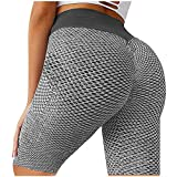 TIK Tok Leggings Shorts for Women Butt Lift, Girls High Waisted Tummy Control Compression Yoga Pants with Pocket Gray