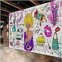 壁の壁紙3Dファッショナブルなカラフルな落書きの美しさの背景壁の壁画バーレストランの装飾の壁紙* 430cmx300cm不織布プレミアムアートプリントフリースの壁の壁画の装飾ポスターPictur