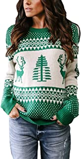 charmsamx Women's Casual Crewneck Knit Sweater Long Sleeves Xmas Tree Reindeer Print Pullover Tops Girls Ugly Christmas Jumpers