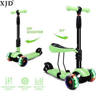 XJD 2 in 1 Scooter for Kids with Removable Seat Toddler Scooter for Boys Girls Adjustable Height PU Flashing Wheels Extra Wide Deck 3 Wheel Scooter for Children from 2 to 8 Years Old