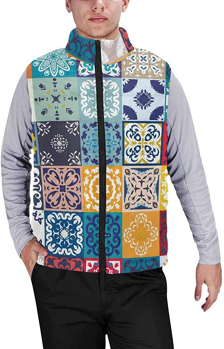 InterestPrint Casual Classic Quilted Sleeveless Vest for Men Colorful Hawaiian Fruity Ukulele