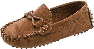 Filles Garçons Mignonne Confort Glisser Sur Suède Cuir Mocassins Flâneurs Chaussures Plates Loafers Chaussure Bateau