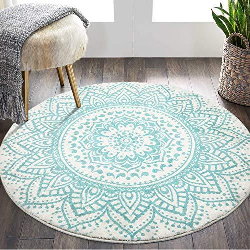 Pauwer Runden Teppiche Weich Groß rutschfest Waschbar Teppich Baumwolle Teppiche für Kinderzimmer, Wohnzimmer, 120cm