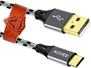 Agvee 3A Heavey Duty [3 Pack 10ft/3m] Micro USB Charging Cable, Slim End, Nylon Braided Data Charger Cord for LG Phone [K410,K425,K428,K430] [Q6,Q6 Plus], LG Pad [G Pad F, X, 7.0, 8.0, 8.3, 10.1] Gray