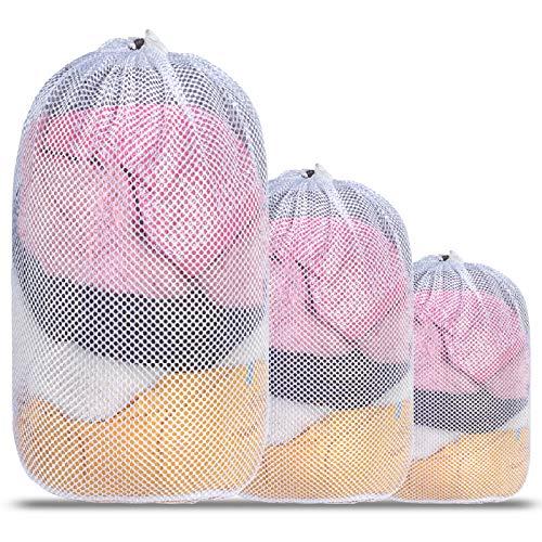 Mesh Laundry Bag Kmeivol 3 Pcs Set Laundry Bags Heavy Duty Drawstring Laundry Mesh Bag Durable White Mesh laundry Bag for Delicates Ideal Machine Washable Laundry Bag for College Dorm Apartment