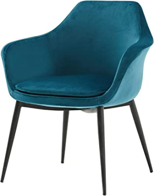 Benjara Velvet Upholstered Dining Chair with Padded Seat and Tapered Legs, Blue