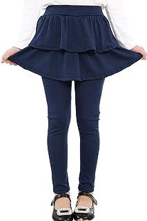 Adorel Mädchen Leggings mit Rock Einteiler Warm Hosen