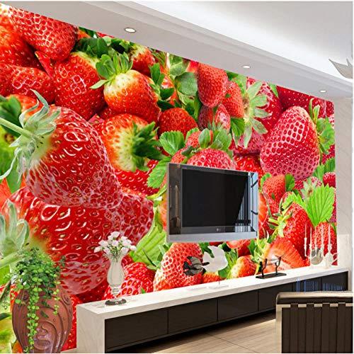 Mural Fotográfico Mural no tejido, papel tapiz panorámico en 3D, fruta de fresa, impresión en HD, tapiz personalizado, póster fotográfico, pared