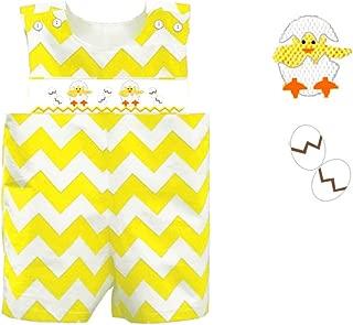 Dana Kids Easter Yellow Chevron Baby Chick Smocked Shortall Baby Boys 12 Months