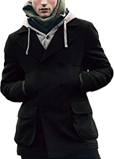 Mens Woolen Overcoat Double Breasted Long Length Notched Collar Trench Pea Coat