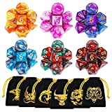 DND Dice, 42 Pieces Polyhedral Dice Color Polyhedral Dice Complete with for Dungeon and Dragons MTG RPG DND D20 D12 D10 D8 D4