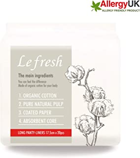 Lefresh Certified Organic Cotton - Lefresh Pure Natural Breathable Freshness Daily Panty-Liners, Hypoallergenic 6.8