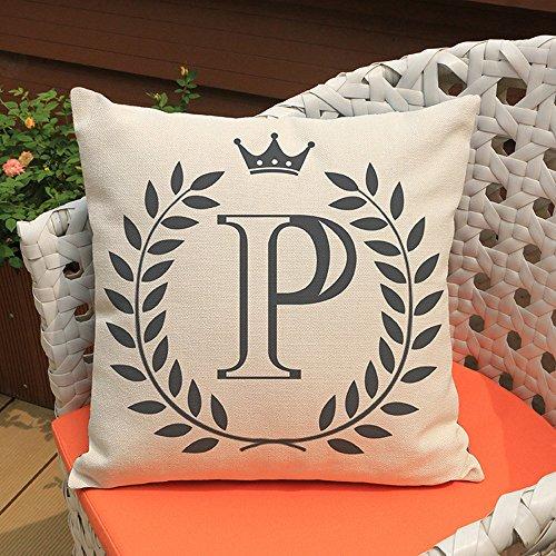 Keerads - Funda de almohada con diseño de letras, algodón y lino, funda de almohada para sofá, decoración del hogar, 45 x 45 cm