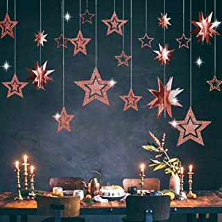Decor365 Glitter Rose Gold Star Garland Twinkle Little Star Party Decoration 3D Star Cutout Hanging Bunting Banner for Bir...