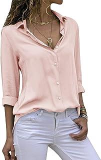 Yidarton Clearance Women's Casual V Neck Chiffon Blouses Long Sleeve T Shirt Tops