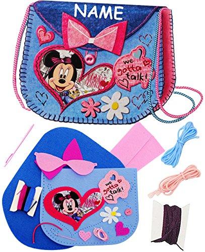 alles-meine.de GmbH Bastelset - Filz Tasche -  Disney Minnie Mouse  - incl. Name - zum Sticken, einfaches Nähen per Hand - Filztasche - Handtasche - Umhängetasche / Schultertas..