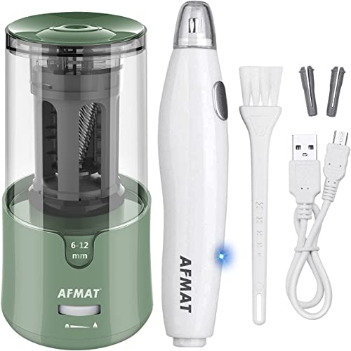 high quality AFMAT Electric Pencil Sharpener for Colored Pencils, Auto Stop, Super outlet online sale Sharp & Fast, AFMAT Electric Eraser Kit,140 Eraser Refills, Rechargeable Electric Erasers for high quality Drafting, Drawing, Crafts, Arts sale