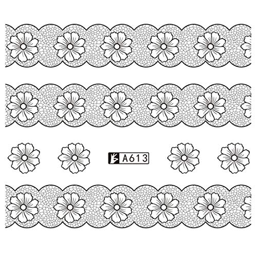 Up Nail Art 1 Feuille Nail Sticker Black Water Decal Set Sexy Dentelle Fleur Pour DIY Slider Conseils Styling Tool Nail Decoration Se-A613-,