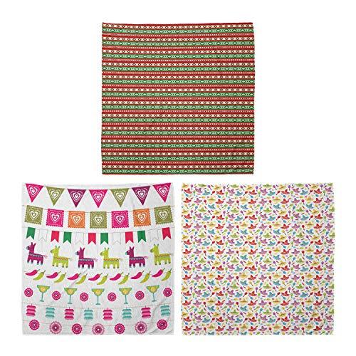ABAKUHAUS Unisex Bandana, Mexikanische Decke Muster Latein Motive Pfeffer Sombrero und Maracas, 3er Pack, Mehrfarbig