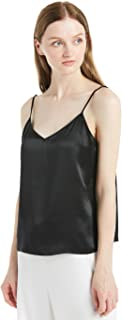 Women's Silk Camisole 100 Mulberry 22MM V Neck Front and Back Basic Soft Tank Tops for Ladies