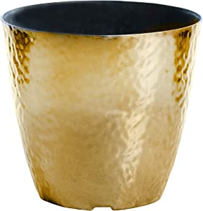 12-in. Round Metallic Hammered Plastic Flower Pot Garden Potted Planter for Indoors or Outdoors, Gold
