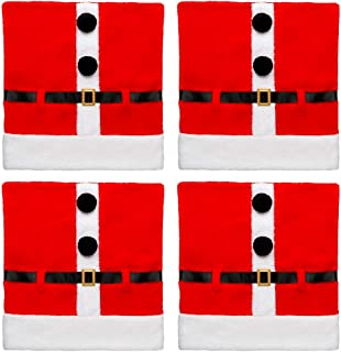 D-FantiX Santa Claus Suit Christmas Chair Covers with Belt Buckle Dining Room Chair Covers Holiday Christmas Decorations R...