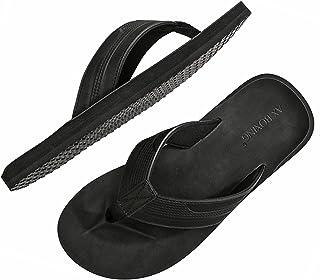 ARRIGO BELLO Mens Flip Flops Advanced Leather Sliders Sandals Soft Slippers Summer Beach Pool Outdoor/Indoor Size 6-11UK