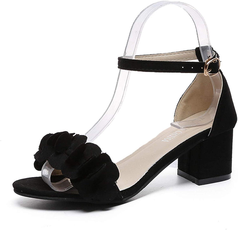 Ruddyin High Heels Women Open Toe Woman shoes Flowers Sweet Style Flock shoes 34-40 M669