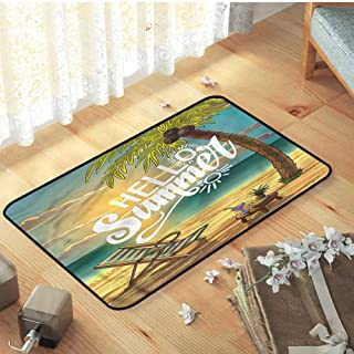Indoor Outdoor Decorative Floor Mat Holiday Doormat Hello Chair Under Palm Trees with Non Slip Backing, 31.5 x 19.5 inch