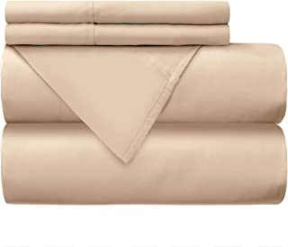 Mellanni 100% Cotton Bed Sheet Set - 300 Thread Count Percale - Deep Pocket - Quality Luxury Bedding - 4 Piece (Queen, Ivory)