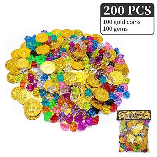 ZoneYan Goldmünzen Kinder, Piraten Schmucksteine Set, Goldmünzen Edelsteinen, Goldmünzen Kindergeburtstag, Schätze für Schatzsuche, Piratenschatz