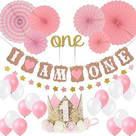 FIRST 1st BIRTHDAY Girl DECORATIONS//Pink Theme Kit Set-Baby Birthday BEST GIFT