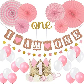 """LQSmile First Birthday Girl Decoration-Baby Girl 1st Birthday Party Hat Princess Tiara Crown, Cake Topper One, """"I Am One""""and Stars Banner,Pink Hanging Paper Fan Flower,Pink and White Balloons"""