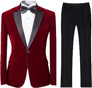 Best Mens 2-Piece Suit Peaked Lapel One Button Tuxedo Slim Fit Dinner Jacket & Pants Review